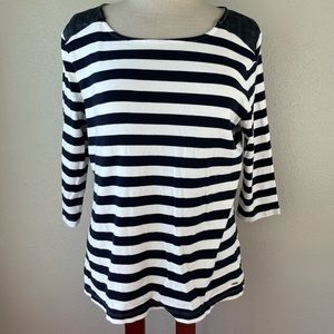 Tommy Hilfiger Navy Blue and White Striped Three Quarter Sleeve Top Size XL